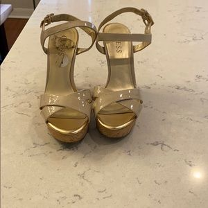 Guess taupe wedge sandals
